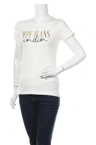 Γυναικείο t-shirt Pepe Jeans, Μέγεθος S, Χρώμα Εκρού, 95% βαμβάκι, 5% ελαστάνη, Τιμή 30,54€