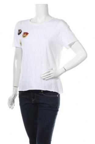 Γυναικείο t-shirt Zara Trafaluc, Μέγεθος S, Χρώμα Λευκό, Βαμβάκι, Τιμή 14,29€