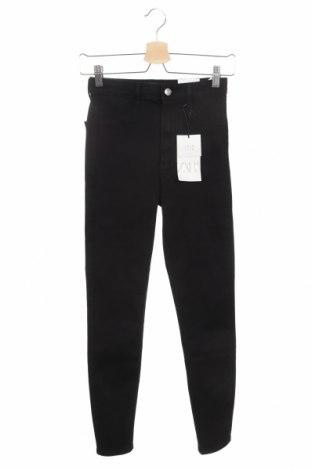 Дамски дънки Zara, Размер XS, Цвят Черен, 77% памук, 19% полиестер, 4% еластан, Цена 18,59лв.