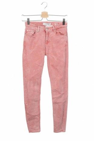 Дамски дънки Zara, Размер XS, Цвят Розов, 78% памук, 15% лиосел, 5% полиестер, 2% еластан, Цена 10,08лв.