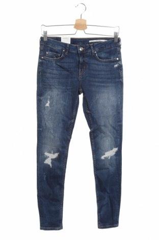 Дамски дънки Zara, Размер M, Цвят Син, 92% памук, 8% еластан, Цена 59,25лв.