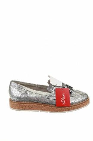 Дамски обувки S.Oliver, Размер 38, Цвят Сребрист, Естествена кожа, Цена 59,25лв.