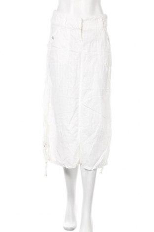 Дамски панталон Trussardi Jeans, Размер M, Цвят Бял, 50% памук, 50% лен, Цена 17,59лв.