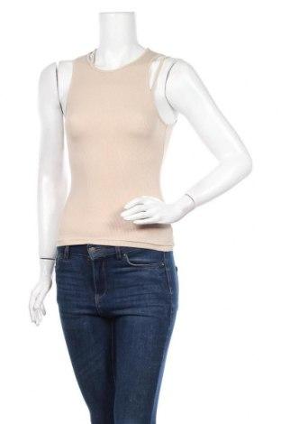 Γυναικείο αμάνικο μπλουζάκι Weekday, Μέγεθος XS, Χρώμα  Μπέζ, 95% βαμβάκι, 5% ελαστάνη, Τιμή 10,05€
