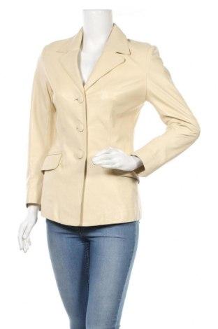Дамско кожено сако, Размер S, Цвят Бежов, Естествена кожа, Цена 59,25лв.