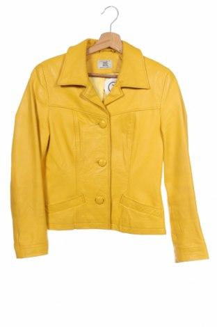 Дамско кожено яке Alba Moda, Размер XS, Цвят Жълт, Естествена кожа, Цена 64,68лв.