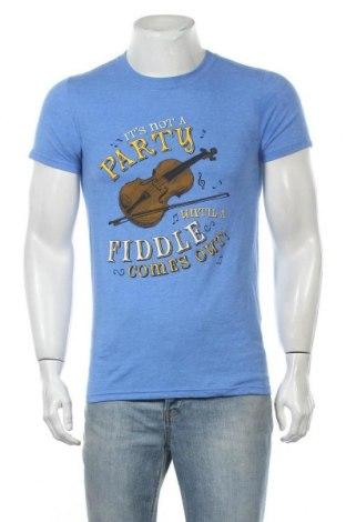 Мъжка тениска Gildan, Размер S, Цвят Син, 65% полиестер, 35% памук, Цена 14,28лв.