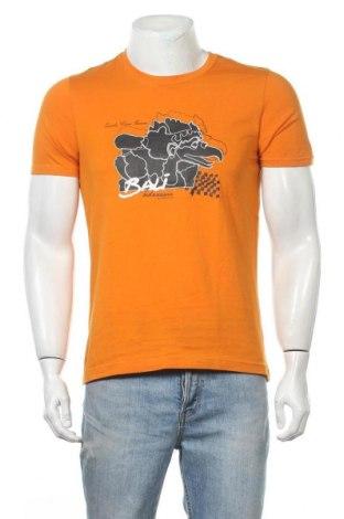 Мъжка тениска Giordano, Размер S, Цвят Оранжев, Памук, Цена 4,46лв.