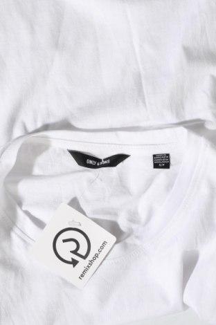 Мъжка тениска Only & Sons, Размер S, Цвят Бял, Памук, Цена 20,25лв.