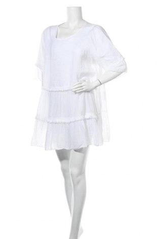 Φόρεμα Made In Italy, Μέγεθος XL, Χρώμα Λευκό, Λινό, Τιμή 23,38€