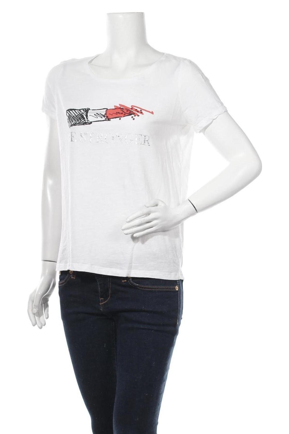 Дамска тениска Comma,, Размер M, Цвят Бял, Памук, Цена 36,75лв.