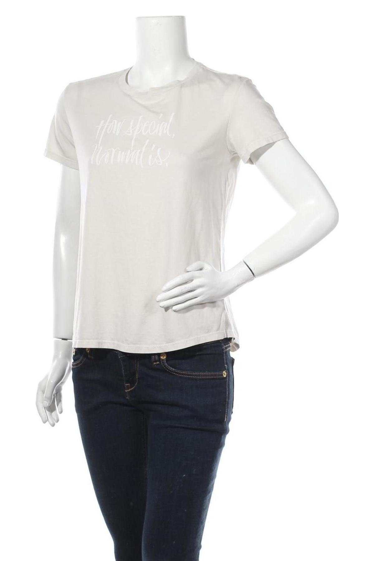 Дамска тениска Massimo Dutti, Размер M, Цвят Бежов, 67% лиосел, 33% памук, Цена 19,20лв.