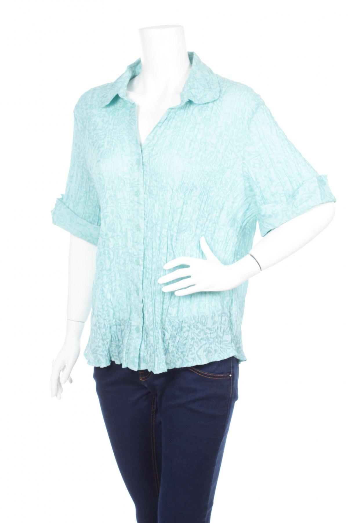 Γυναικείο πουκάμισο Laura Plus, Μέγεθος L, Χρώμα Μπλέ, 62% πολυεστέρας, 38% βαμβάκι, Τιμή 8,66€