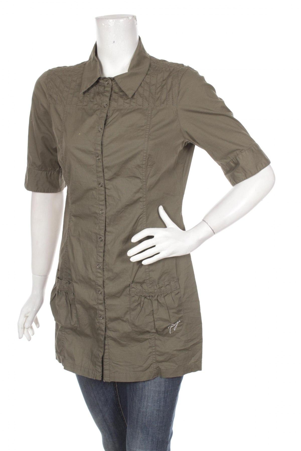 Γυναικείο πουκάμισο Garage, Μέγεθος M, Χρώμα Πράσινο, 97% βαμβάκι, 3% ελαστάνη, Τιμή 16,70€