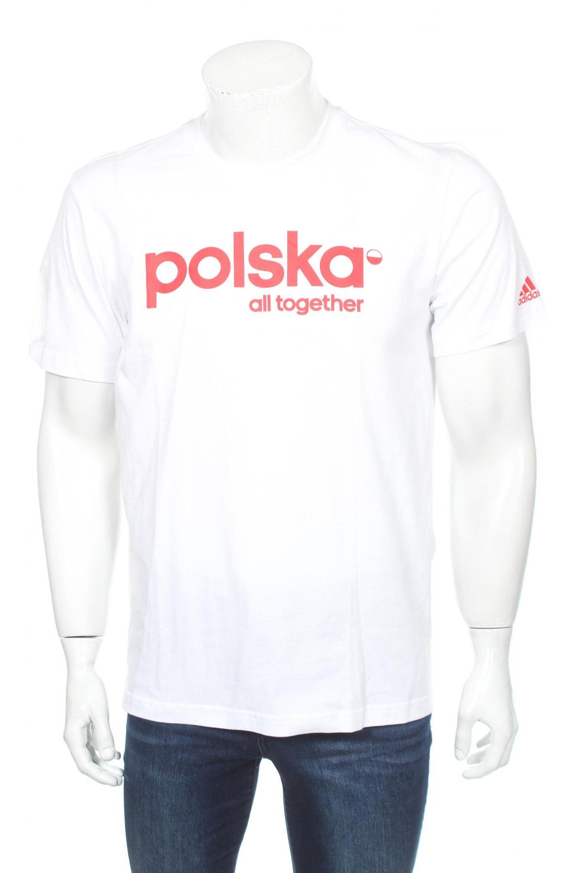 Мъжка тениска Adidas, Размер M, Цвят Бял, 100% памук, Цена 13,65лв.