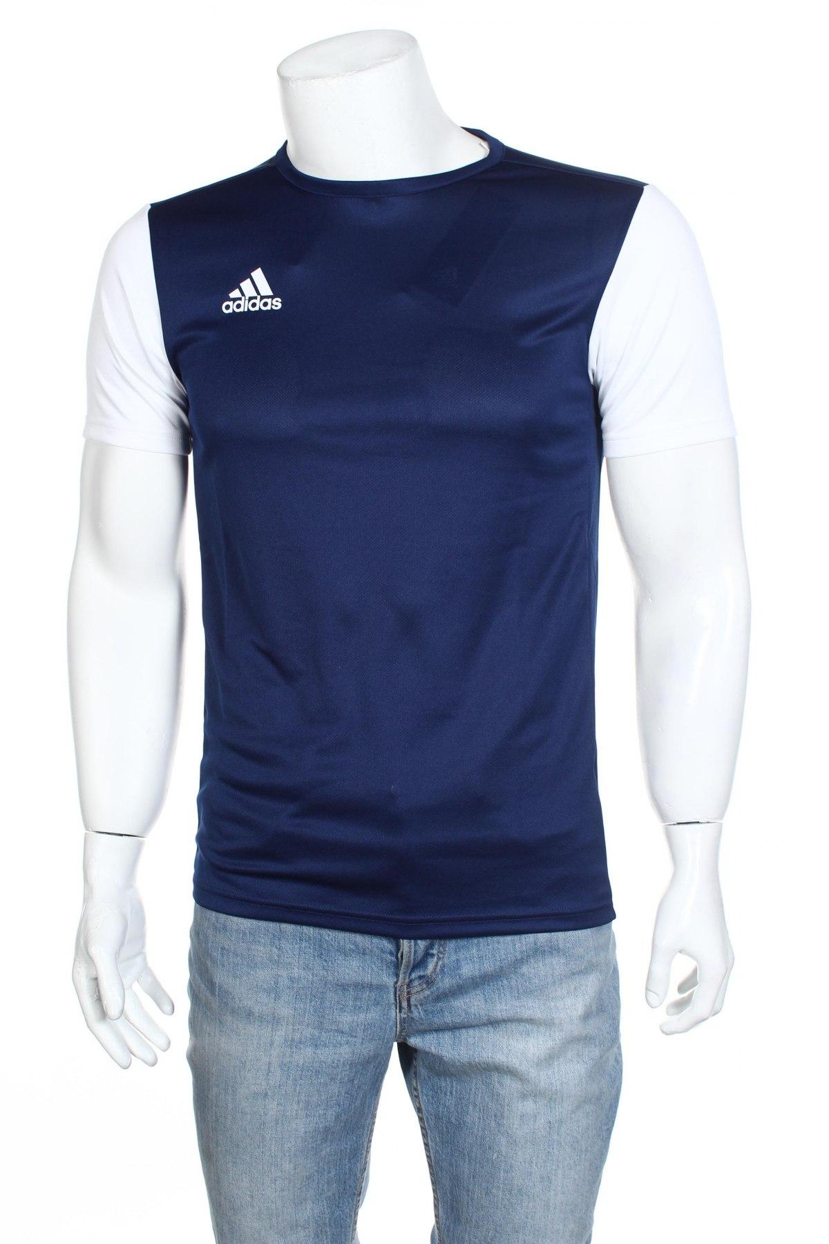Мъжка тениска Adidas, Размер S, Цвят Син, Полиестер, Цена 18,60лв.
