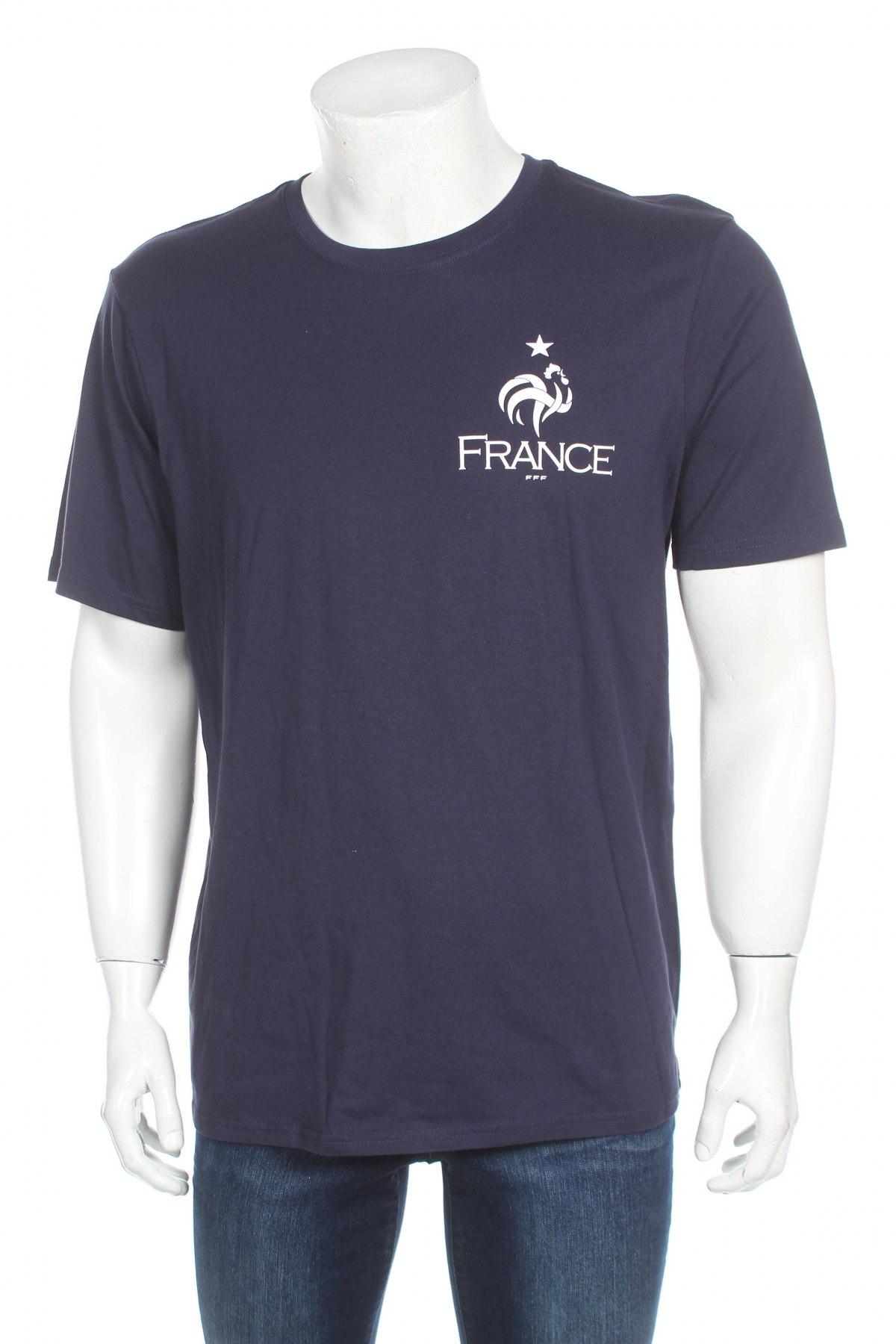 Мъжка тениска FFF France, Размер L, Цвят Син, Памук, Цена 15,60лв.