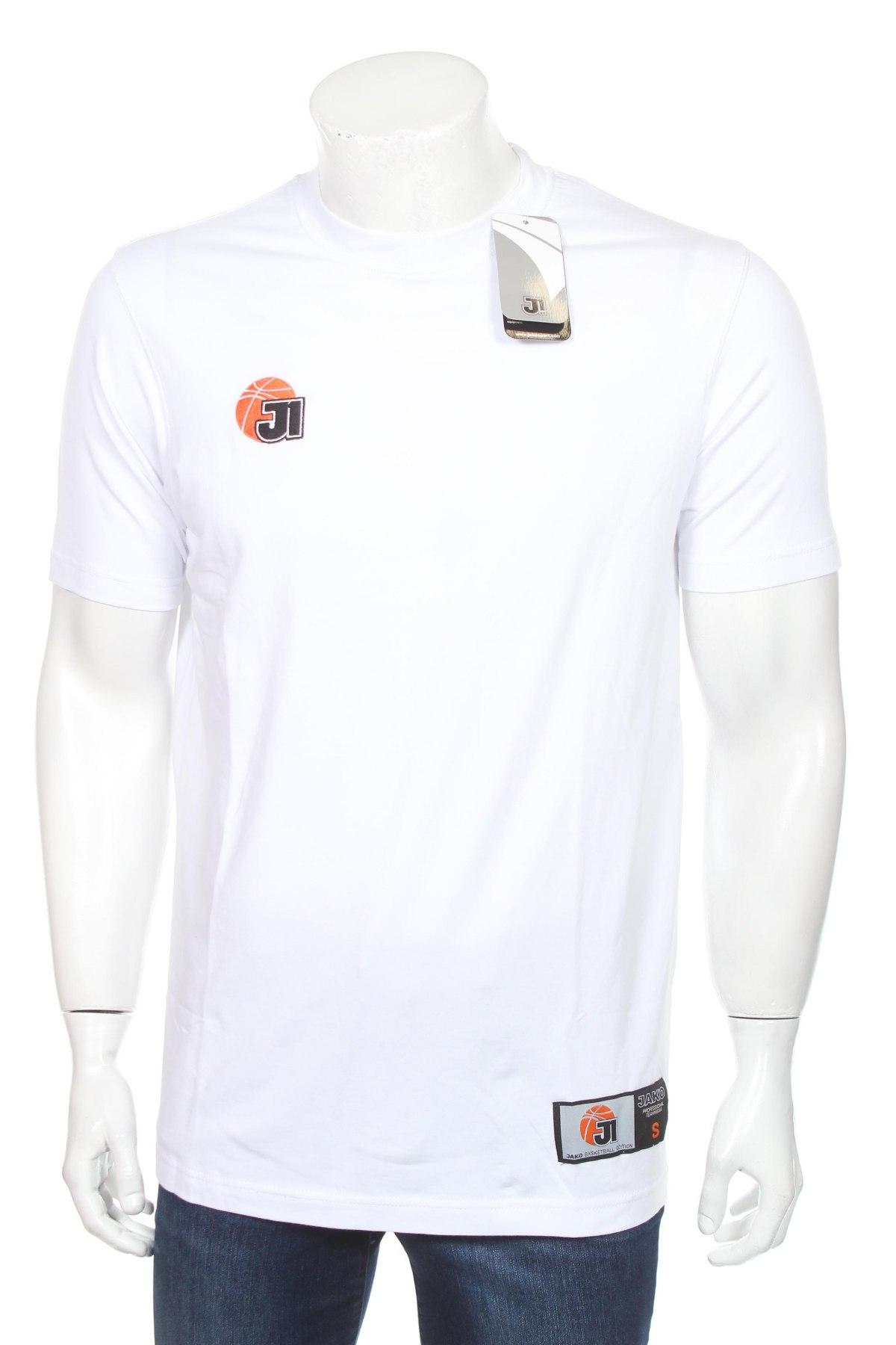 Мъжка тениска Jako, Размер S, Цвят Бял, 95% памук, 5% еластан, Цена 11,70лв.