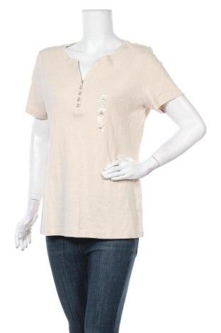 Дамска блуза Karen Scott, Размер L, Цвят Бежов, Памук, Цена 23,89лв.