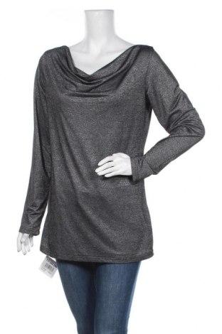 Γυναικεία μπλούζα Okay, Μέγεθος L, Χρώμα Γκρί, 58% βισκόζη, 40% μεταλλικά νήματα, 2% ελαστάνη, Τιμή 8,18€