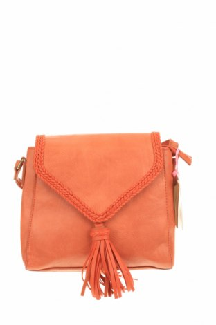 Дамска чанта, Цвят Оранжев, Еко кожа, естествена кожа, Цена 51,77лв.