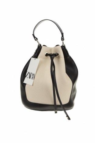 Дамска чанта Zara, Цвят Бежов, Еко кожа, текстил, Цена 51,75лв.