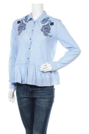 Γυναικείο πουκάμισο Desigual, Μέγεθος L, Χρώμα Μπλέ, Βαμβάκι, Τιμή 34,39€