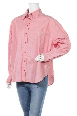 Дамска риза Urban Revivo, Размер M, Цвят Червен, 97% памук, 3% еластан, Цена 17,01лв.