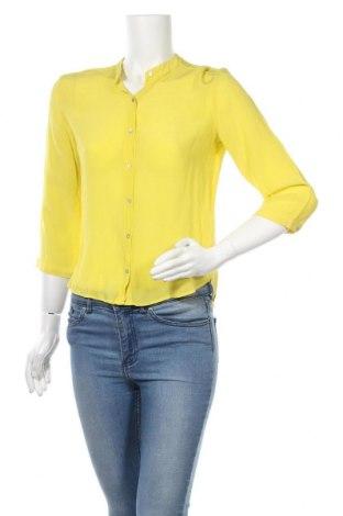 Дамска риза Zara, Размер S, Цвят Жълт, 100% коприна, Цена 25,50лв.