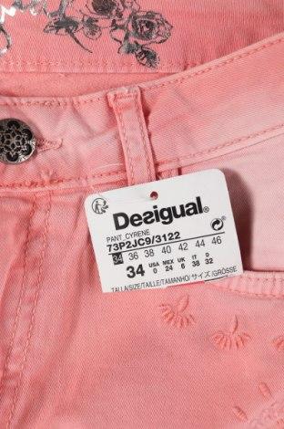 Дамски дънки Desigual, Размер XS, Цвят Розов, 97% памук, 3% еластан, Цена 59,77лв.