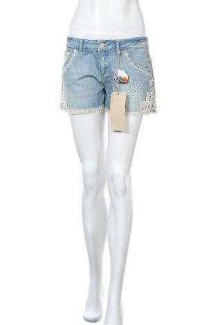 Дамски къс панталон Desigual, Размер M, Цвят Син, Памук, Цена 53,40лв.