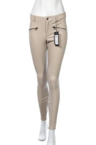 Дамски кожен панталон ONLY, Размер S, Цвят Бежов, Еко кожа, Цена 47,40лв.