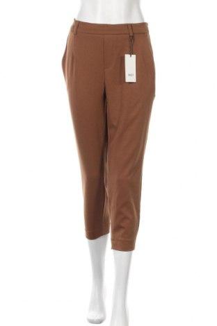 Γυναικείο παντελόνι Object, Μέγεθος L, Χρώμα Καφέ, 62% πολυεστέρας, 32% βισκόζη, 6% ελαστάνη, Τιμή 18,85€