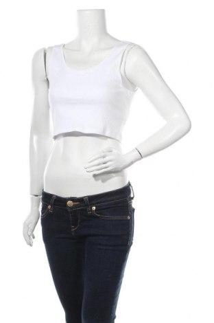 Γυναικείο αμάνικο μπλουζάκι Gina Tricot, Μέγεθος L, Χρώμα Λευκό, 95% βαμβάκι, 5% ελαστάνη, Τιμή 10,05€