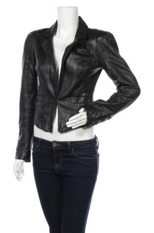 Дамско кожено сако New Look, Размер M, Цвят Черен, Естествена кожа, Цена 65,42лв.