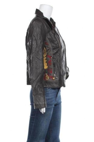 Дамско кожено яке Desigual, Размер XL, Цвят Зелен, Еко кожа, Цена 59,15лв.