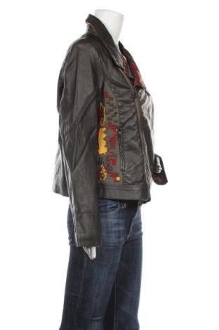 Дамско кожено яке Desigual, Размер XXL, Цвят Зелен, Еко кожа, Цена 59,15лв.