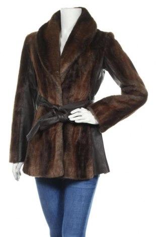 Dámský kabát  H&M, Velikost S, Barva Hnědá, Akryl , polyester, pravá kůže, Cena  770,00Kč