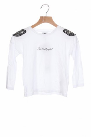 Детска блуза Karl Lagerfeld, Размер 3-4y/ 104-110 см, Цвят Бял, 50% памук, 50% модал, Цена 89,40лв.