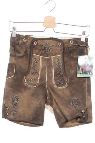 Dětské krátké kalhoty , Velikost 9-10y/ 140-146 cm, Barva Hnědá, Pravá kůže, Cena  450,00Kč