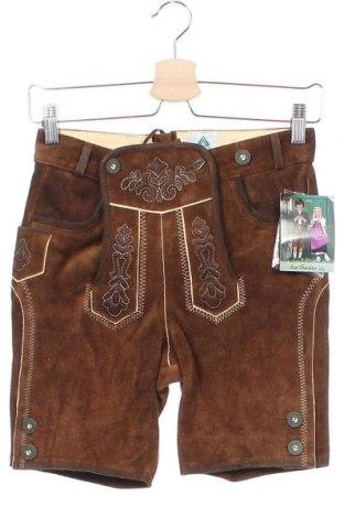 Dětské krátké kalhoty , Velikost 9-10y/ 140-146 cm, Barva Hnědá, Pravá kůže, Cena  455,00Kč