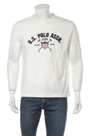 Мъжка тениска U.S. Polo Assn., Размер L, Цвят Бял, Памук, Цена 66,75лв.
