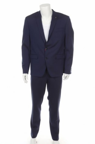 Мъжки костюм Bruno Banani, Размер L, Цвят Син, 69% полиестер, 29% вискоза, 2% еластан, Цена 189,07лв.
