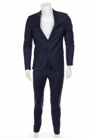Мъжки костюм Drykorn for beautiful people, Размер M, Цвят Син, 60% вълна, 36% полиамид, 4% еластан, Цена 171,60лв.