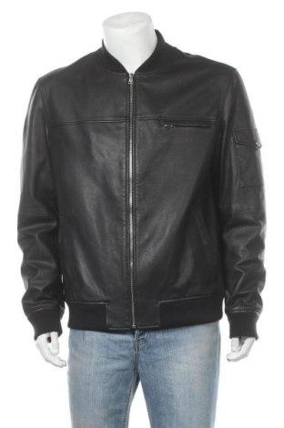 Ανδρικό δερμάτινο μπουφάν Hugo Boss, Μέγεθος XL, Χρώμα Μαύρο, Γνήσιο δέρμα, Τιμή 347,55€
