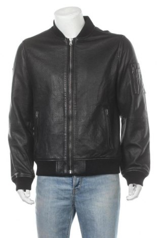 Ανδρικό δερμάτινο μπουφάν Superdry, Μέγεθος XL, Χρώμα Μαύρο, Γνήσιο δέρμα, Τιμή 138,85€