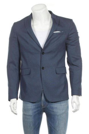 Мъжко сако Zara, Размер M, Цвят Син, 49% полиестер, 48% вискоза, 3% еластан, Цена 44,10лв.
