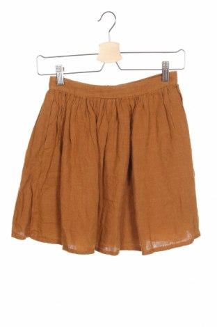 Пола American Vintage, Размер XS, Цвят Кафяв, 100% лен, Цена 23,76лв.