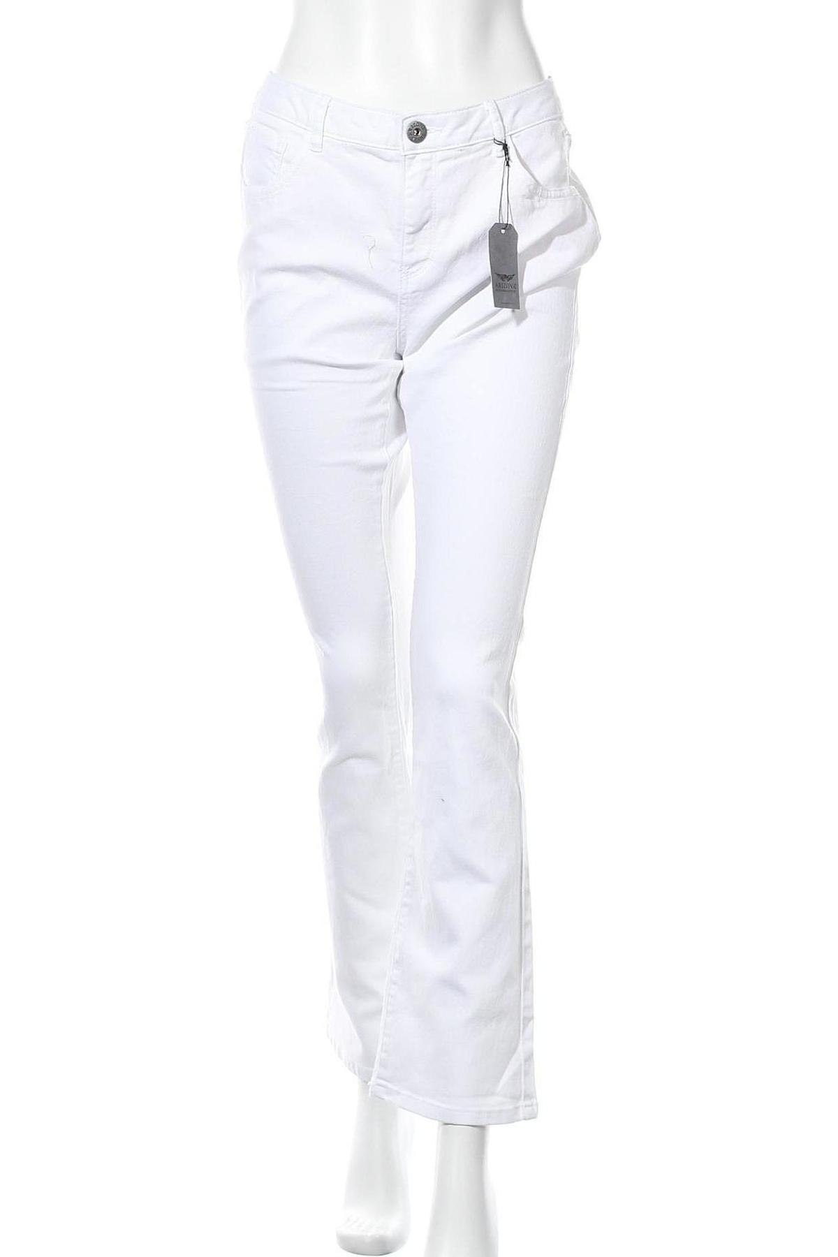Дамски дънки Arizona, Размер L, Цвят Бял, 65% памук, 33% полиестер, 2% еластан, Цена 39,50лв.