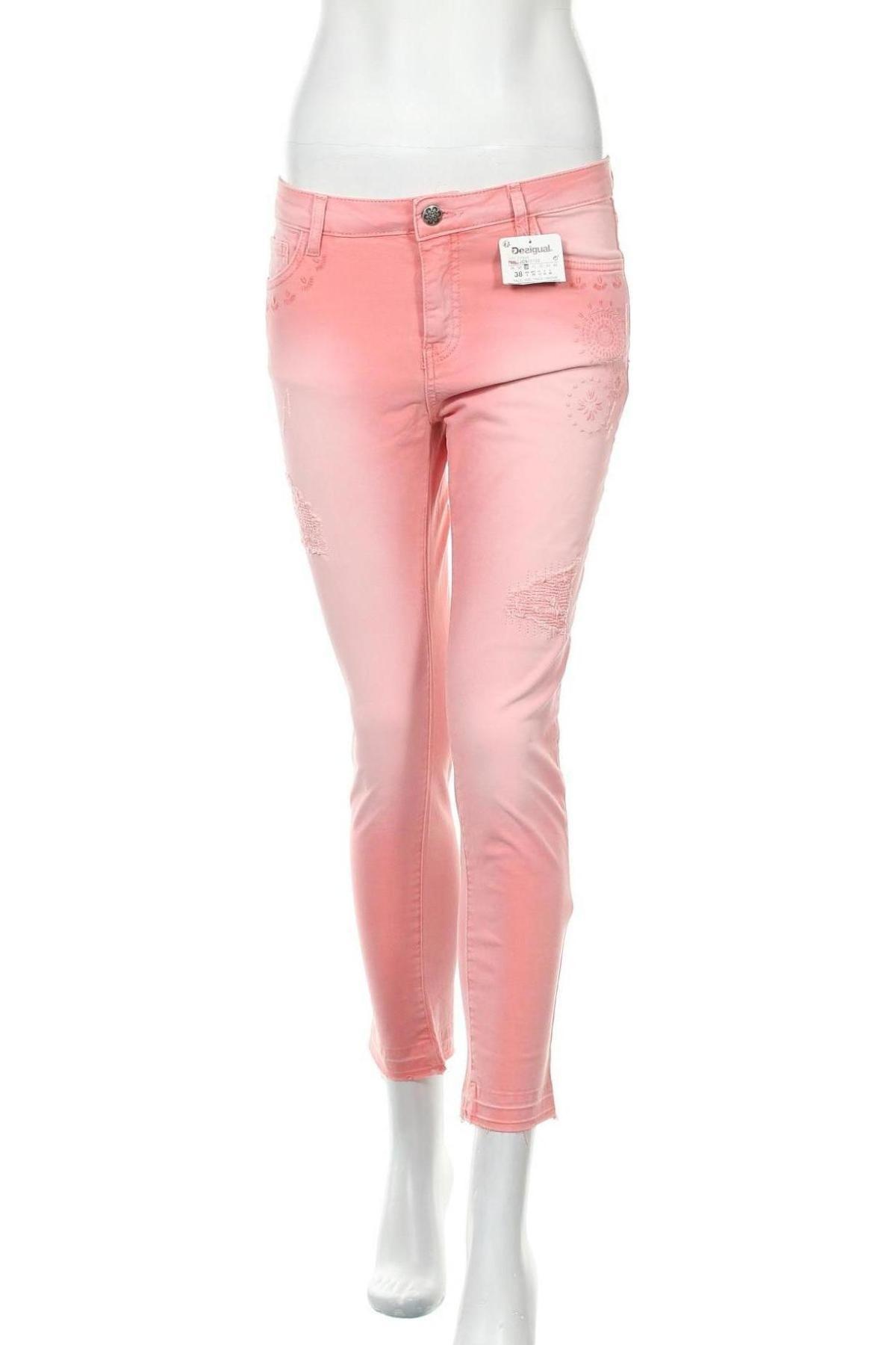 Дамски дънки Desigual, Размер S, Цвят Розов, 97% памук, 3% еластан, Цена 44,52лв.